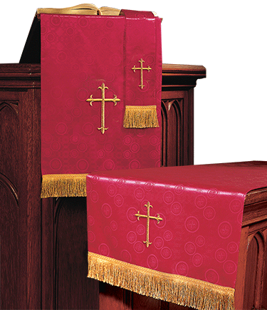 Church Altar Parament Set Red Brocade