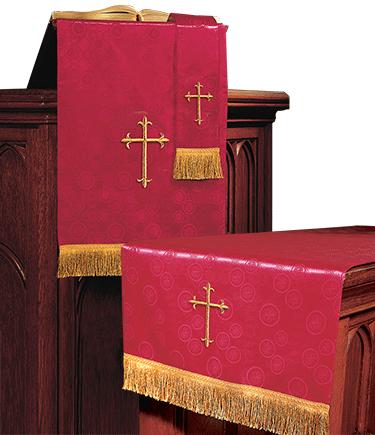 Church Altar Parament Set Red Brocade