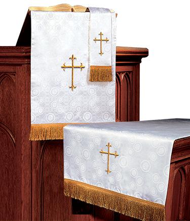 Church Altar Parament Set White Brocade