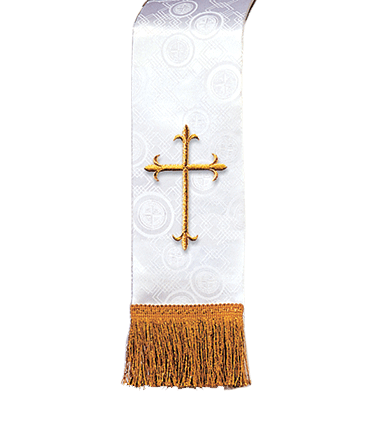 Church Bible Marker White Brocade