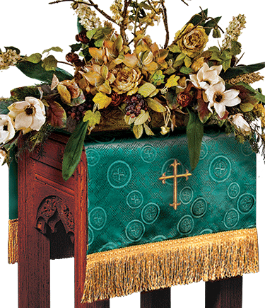 Church Flower Stand Cover Green Brocade