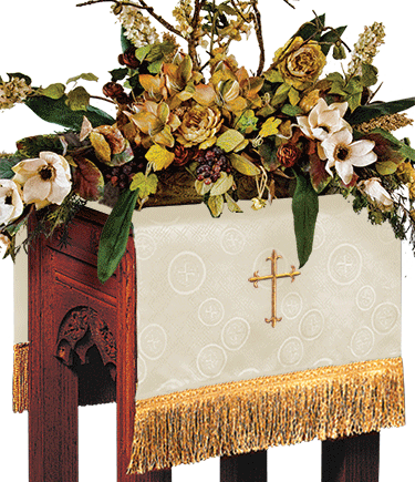 Church Flower Stand Cover Ivory Brocade