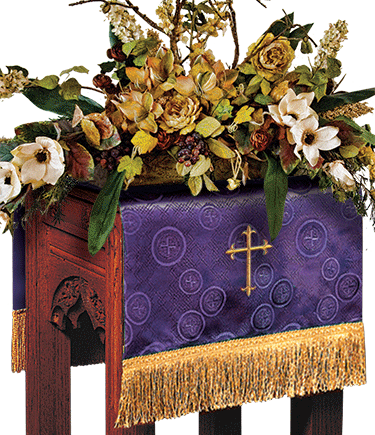 Church Flower Stand Cover Purple Brocade