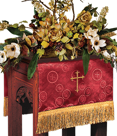 Church Flower Stand Cover Red Brocade