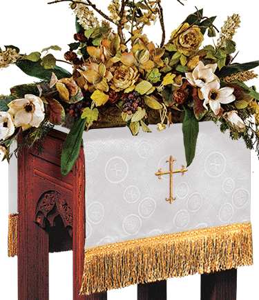 Church Flower Stand Cover White Brocade