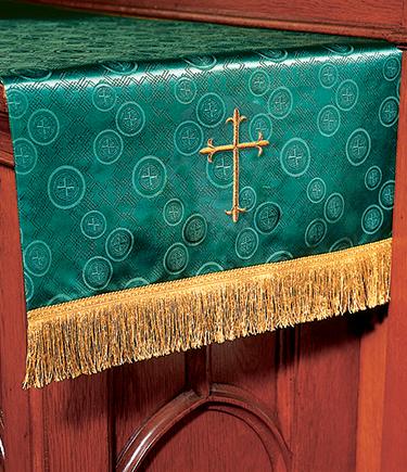 Communion Table Runner Green Brocade