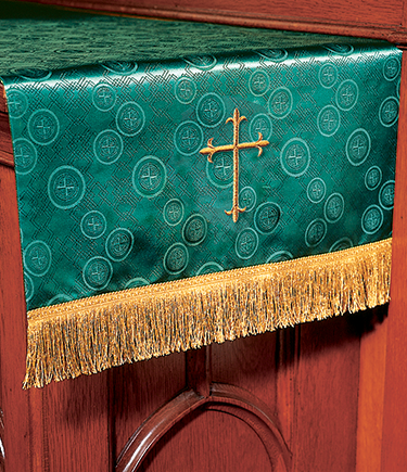 Communion Table Runner Green Brocade