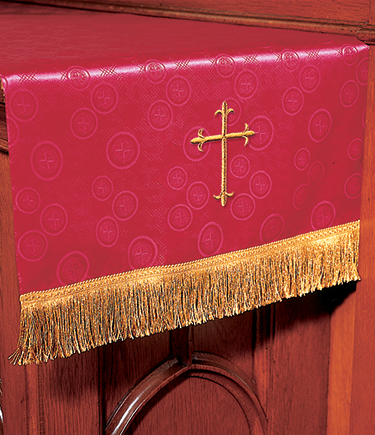 Communion Table Runner Red Brocade