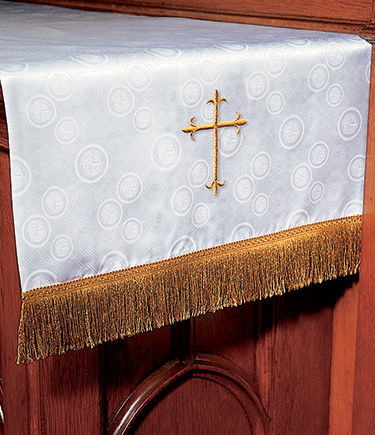Communion Table Runner White Brocade