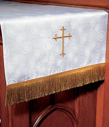 Communion Table Runner White Brocade