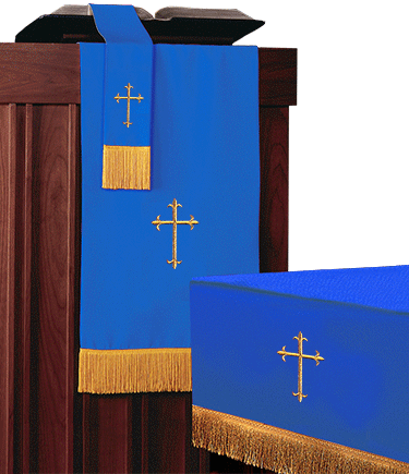 Reversible Church Altar Parament Set Blue White