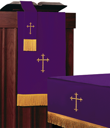Reversible Church Altar Parament Set Green Purple Light weight