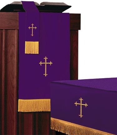 Reversible Church Altar Parament Set Green Purple Light weight