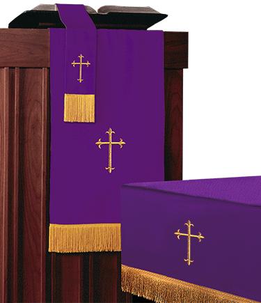 Reversible Church Altar Parament Set Purple Green