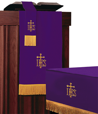 Reversible Church Altar Parament Set Purple to Green IHS