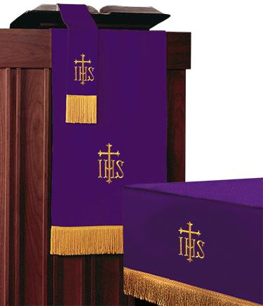 Reversible Church Altar Parament Set Purple to Green IHS