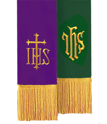 Reversible Church Bible Marker Purple Green IHS