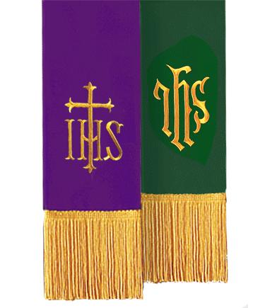 Reversible Church Bible Marker Purple Green IHS