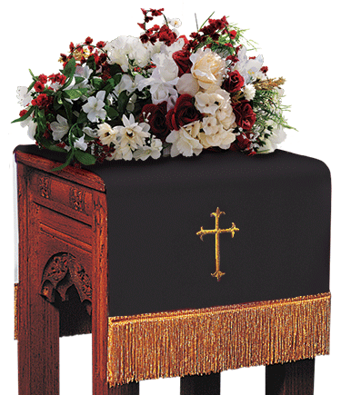 Reversible Church Flower Stand Cover Black to White