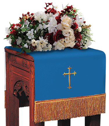 Reversible Church Flower Stand Cover Blue to White