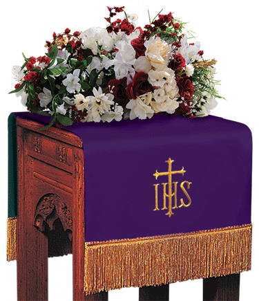 Reversible Church Flower Stand Cover Purple to Green IHS