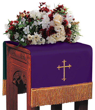 Reversible Church Flower Stand Cover Purple to Green