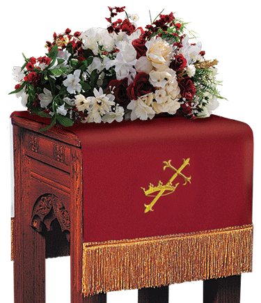 Reversible Church Flower Stand Cover Red to White Cross and Crown
