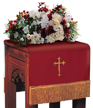 Reversible Church Flower Stand Cover Red to White