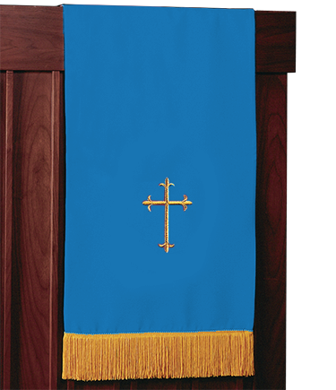 Reversible Church Lectern Pulpit Scarf Blue White