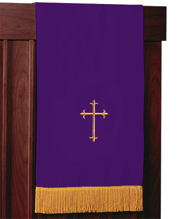 Reversible Church Lectern Pulpit Scarf Purple Green