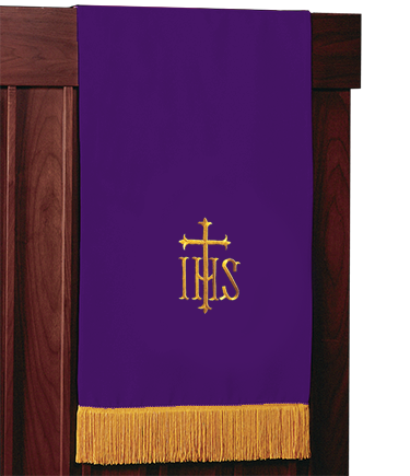 Reversible Church Lectern Pulpit Scarf Purple to Green IHS