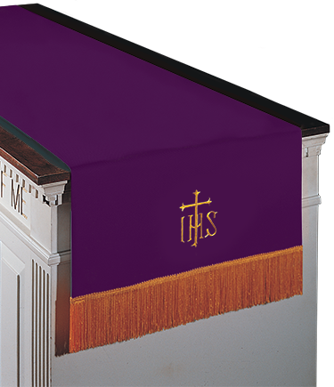 Reversible Communion Table Runner Purple to Hunter Green IHS