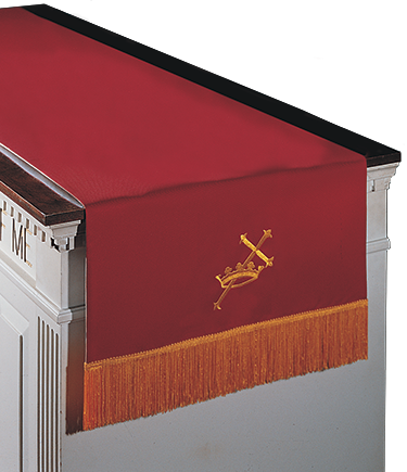 Reversible Communion Table Runner Red to White Cross and Crown