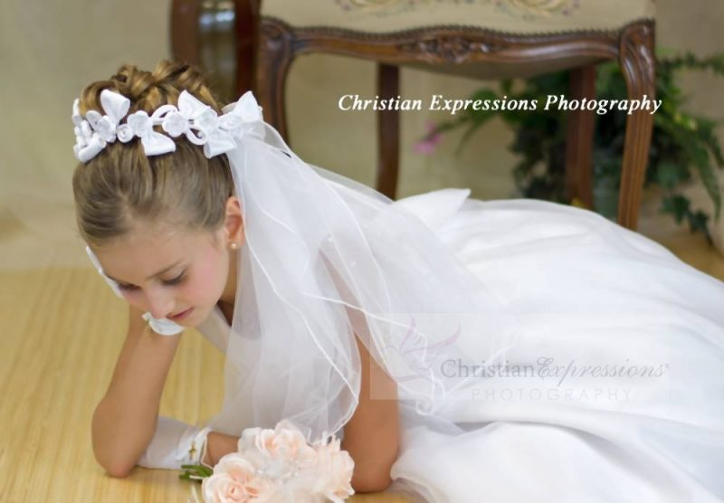 First Communion Wreath Veil with Satin Bows