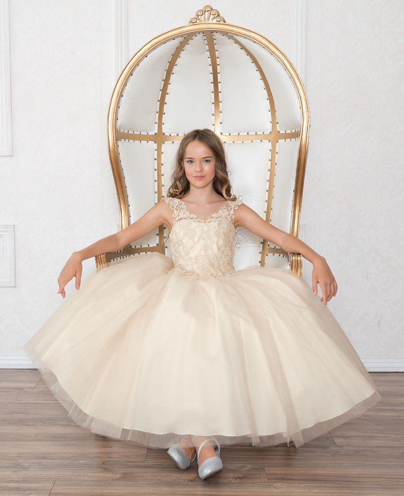 Girls Pageant Gown with Beaded V Neck and Scoop Back