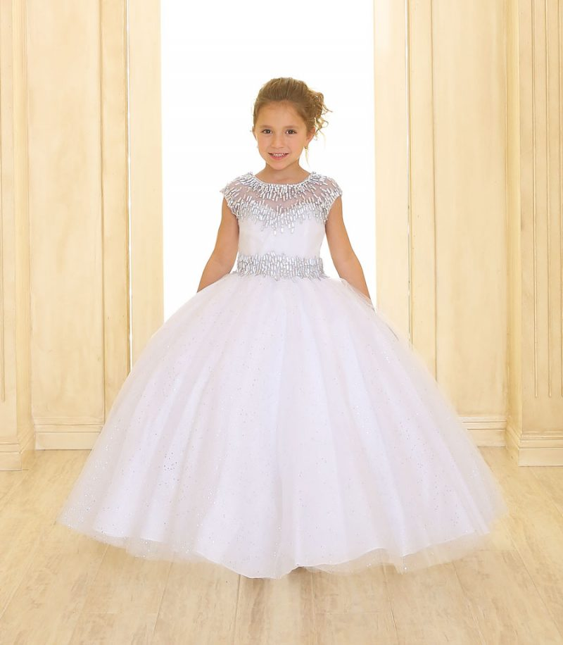 Girls First Communion Gown with Cap Sleeves
