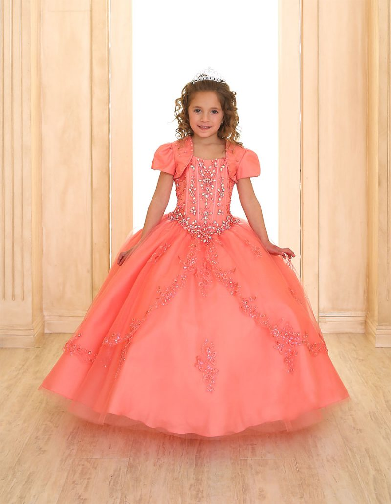 Girls Pageant Dress with Embellished Beading
