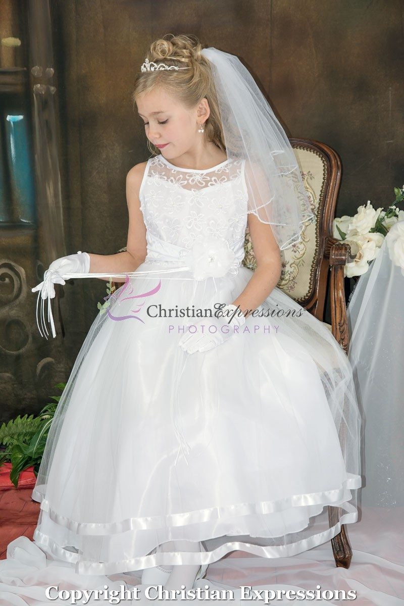 Embroidered First Communion Dress Organza Layered Skirt
