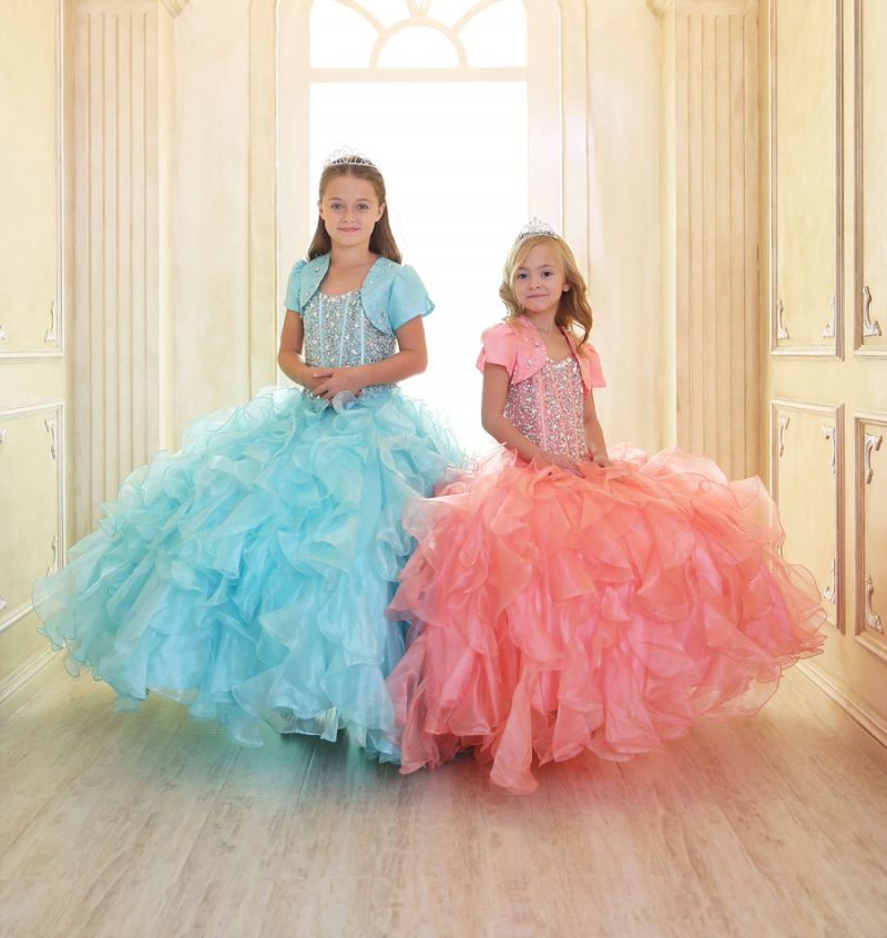 Girls Pageant Gown with Ruffled Skirt and Crystal Sequin Bodice
