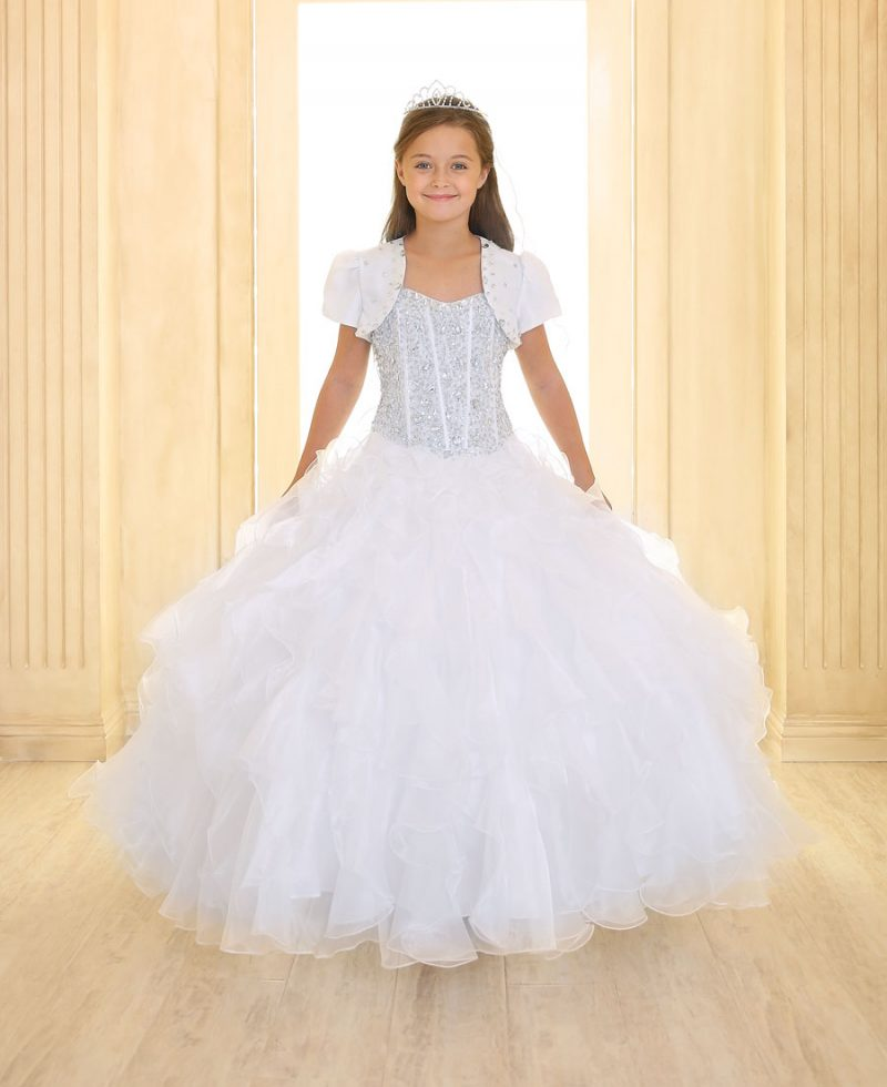 Girls First Communion Gown with Ruffled Skirt and Crystal Sequin Bodice