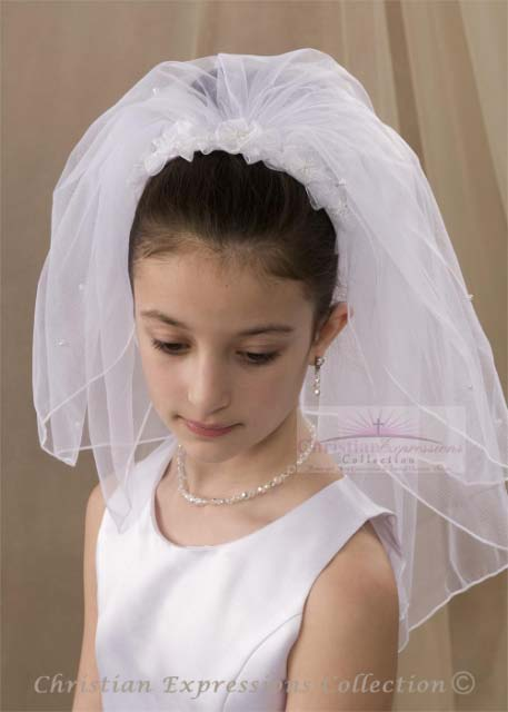 First Communion Headband Veil-V880