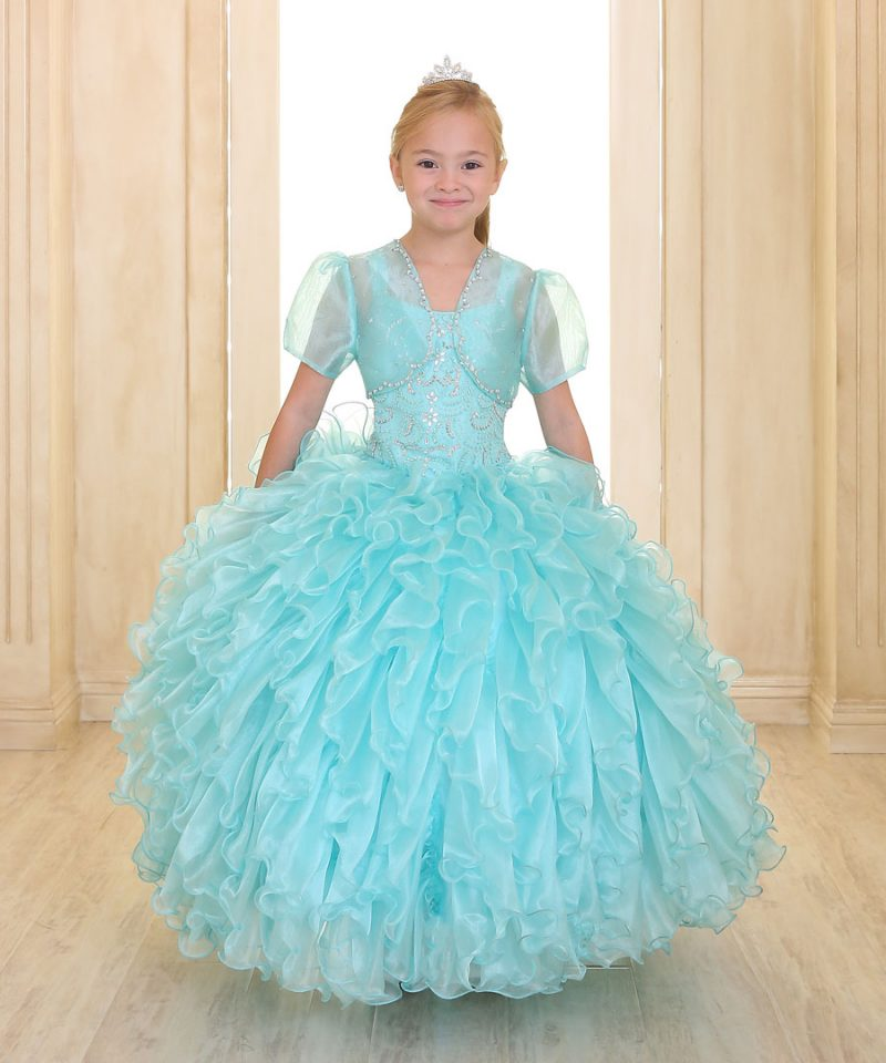 Embellished Bodice Girls Pageant Dress Ruffled Skirt