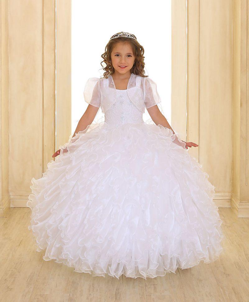 Embellished Bodice Girls First Communion Dress Ruffled Skirt