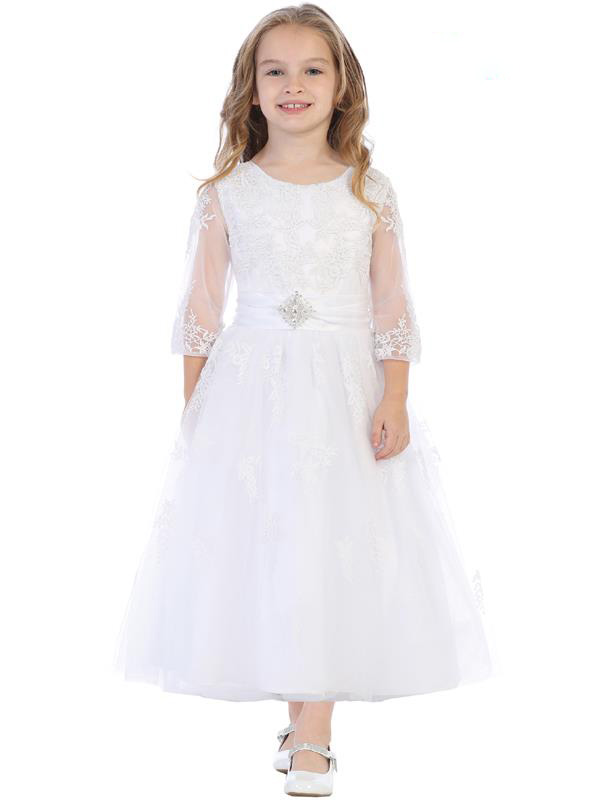 Embroidered Tulle Communion Dress with Sleeves
