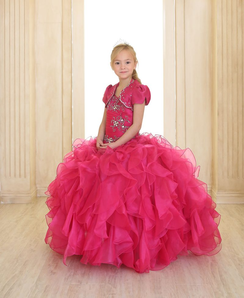 Girls Pageant Gown with Ruffled Skirt and Jeweled Embroidery