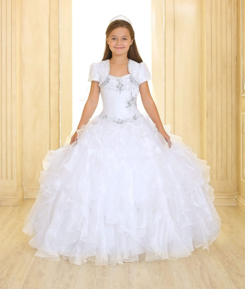Girls First Communion Gown with Ruffled Skirt and Jeweled Embroidery