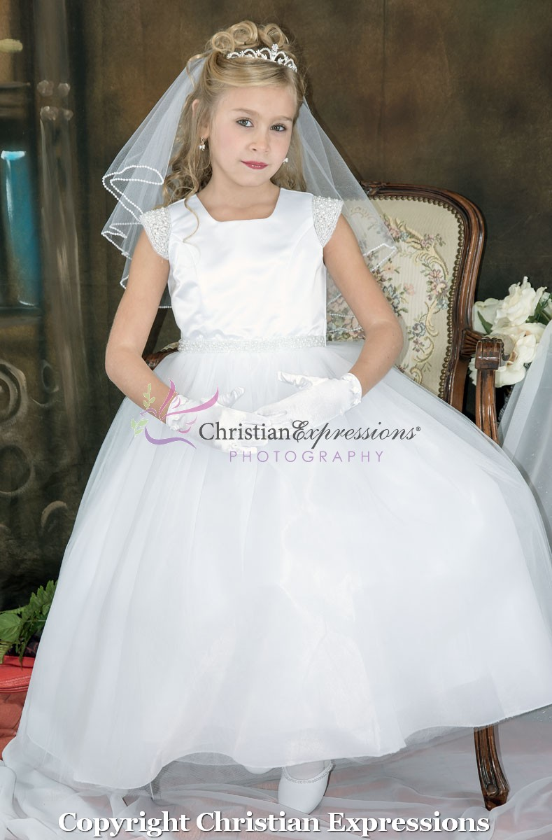 First Communion Dress Cap Sleeve Pearls