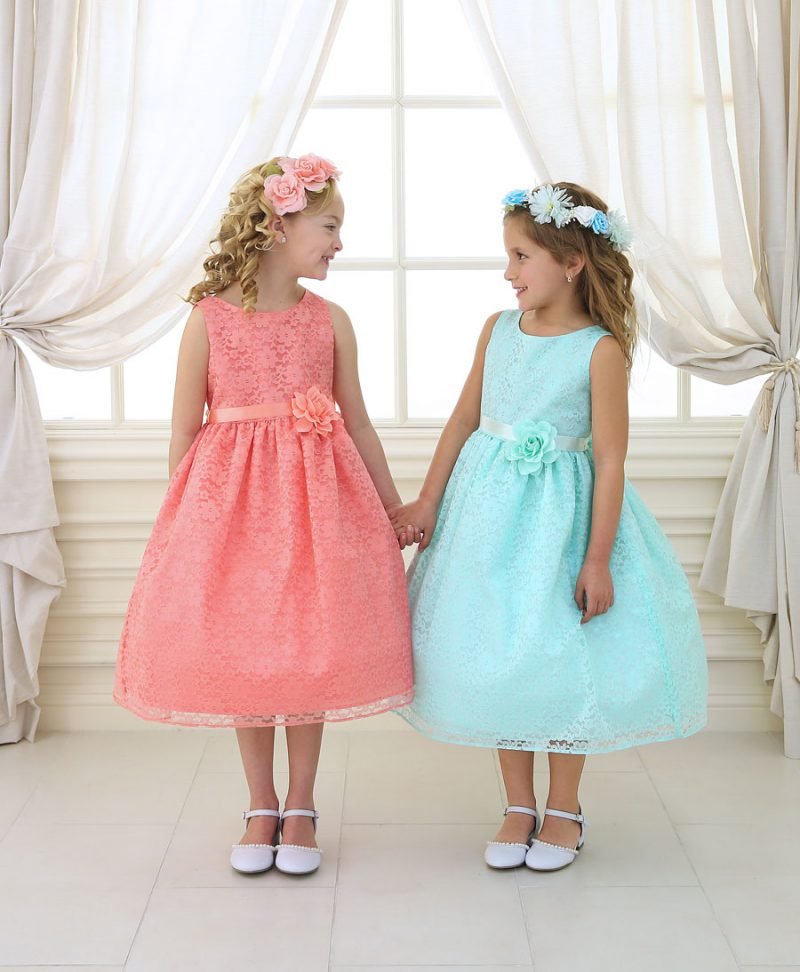 Flower Girl Dress with Floral Lace Overlay