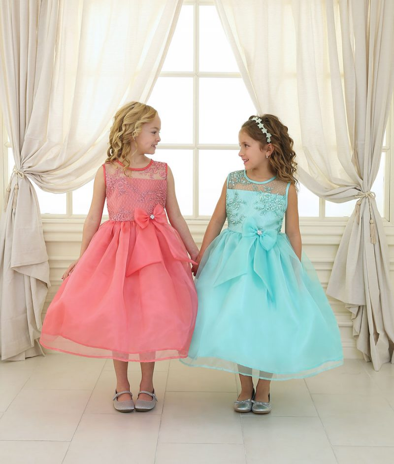 Flower Girl Dress with Lace Bodice