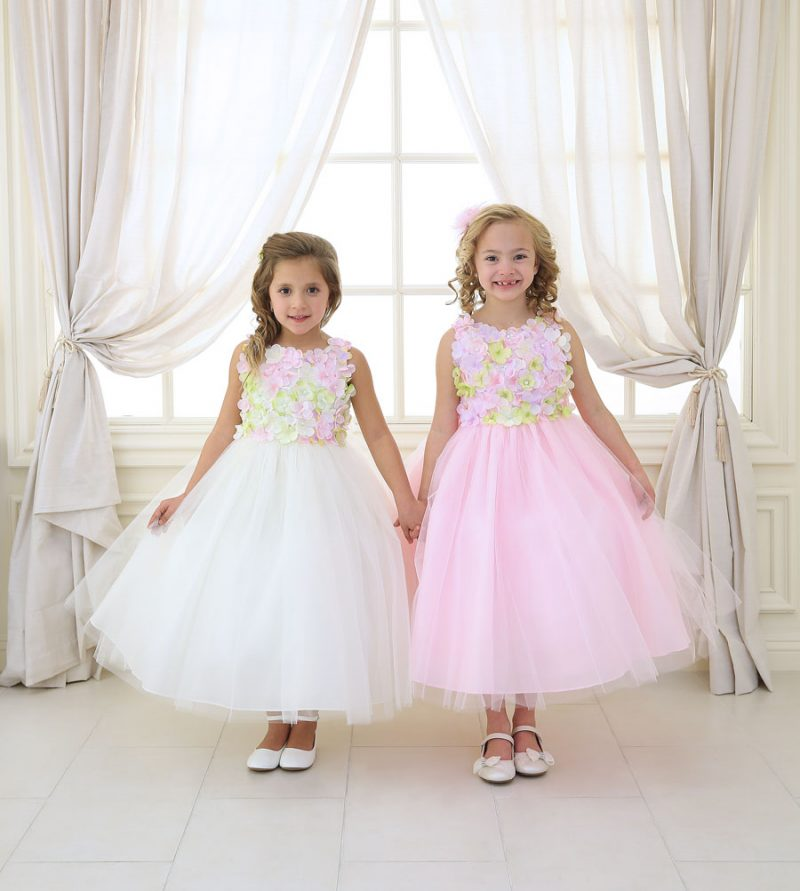 Flower Girl Dress with Flower Patch Bodice